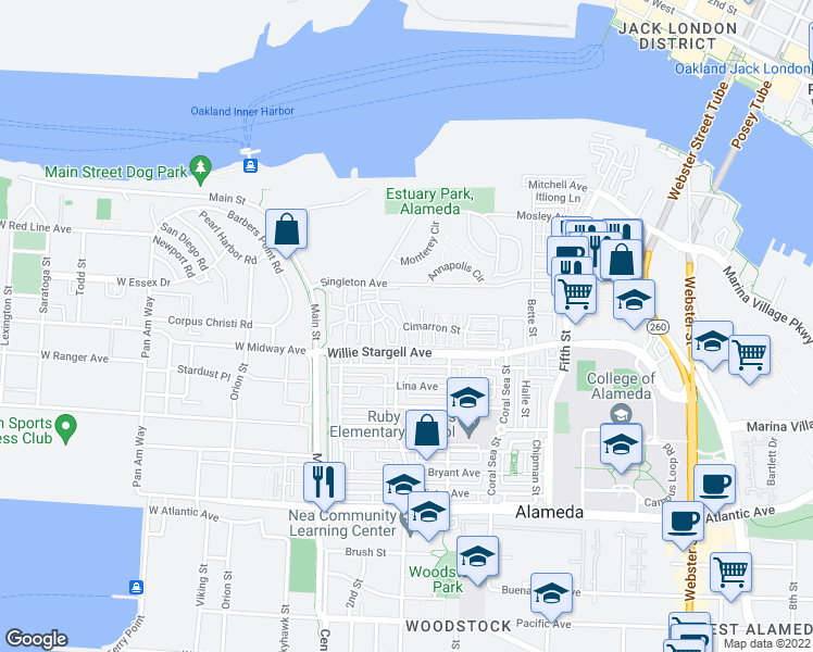 map of restaurants, bars, coffee shops, grocery stores, and more near 2626 Sacramento in Alameda