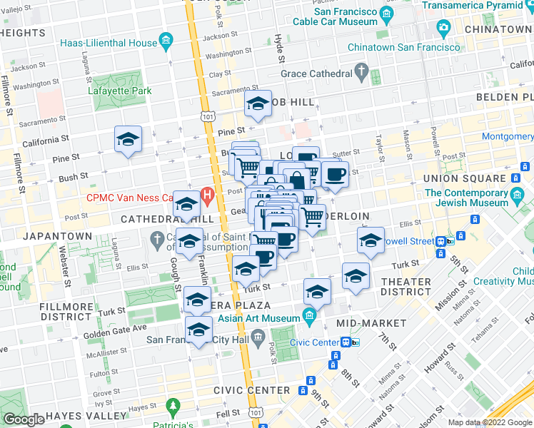 map of restaurants, bars, coffee shops, grocery stores, and more near 935 Geary Street in San Francisco