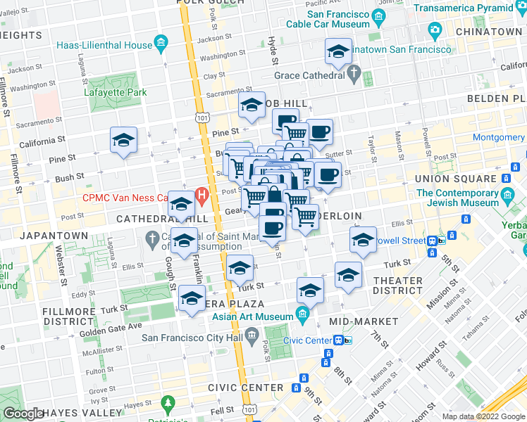 map of restaurants, bars, coffee shops, grocery stores, and more near 925 Geary Street in San Francisco