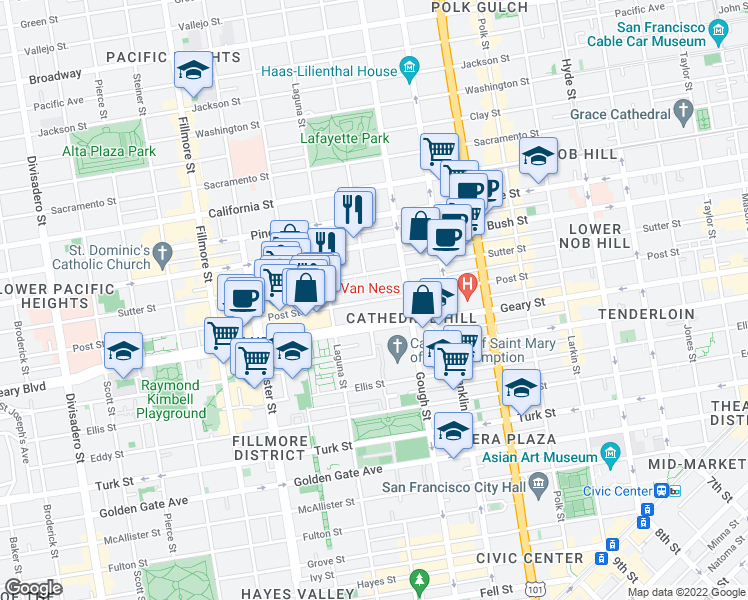 map of restaurants, bars, coffee shops, grocery stores, and more near 1481 Post Street in San Francisco