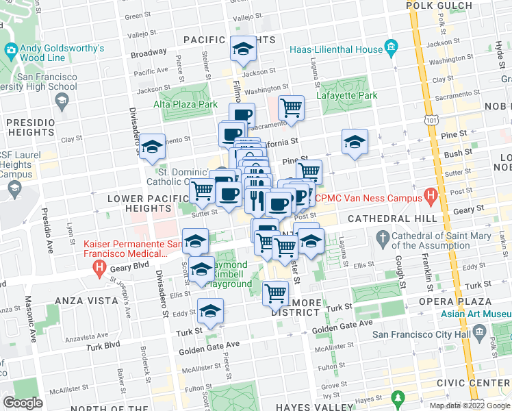 map of restaurants, bars, coffee shops, grocery stores, and more near Fillmore Street & Sutter Street in San Francisco