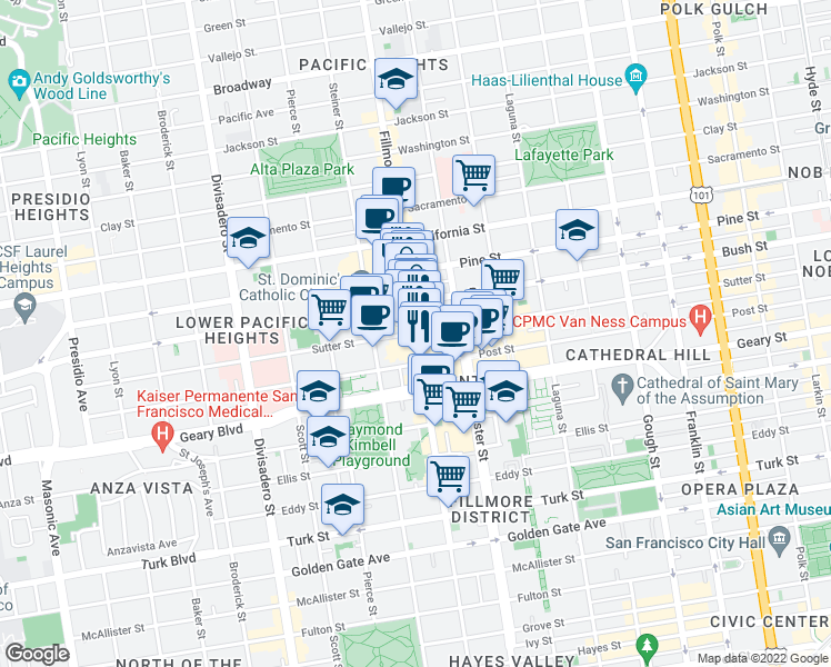 map of restaurants, bars, coffee shops, grocery stores, and more near Fillmore St & Sutter St in San Francisco