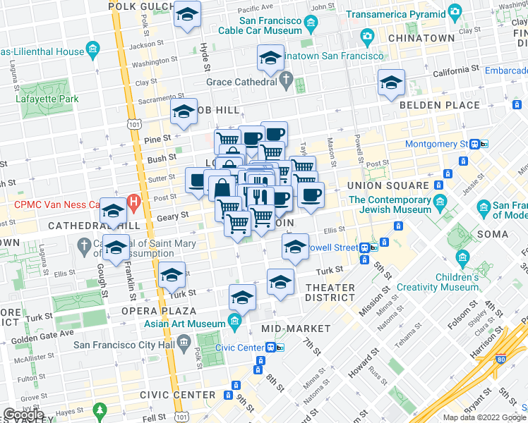 map of restaurants, bars, coffee shops, grocery stores, and more near 540 Leavenworth Street in San Francisco