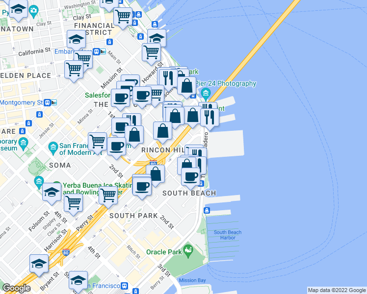 map of restaurants, bars, coffee shops, grocery stores, and more near Bryant Street & Beale Street in San Francisco
