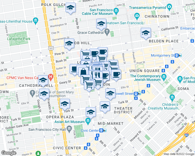 map of restaurants, bars, coffee shops, grocery stores, and more near 685 Geary Street in San Francisco