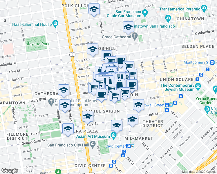 map of restaurants, bars, coffee shops, grocery stores, and more near 816 Geary Street in San Francisco