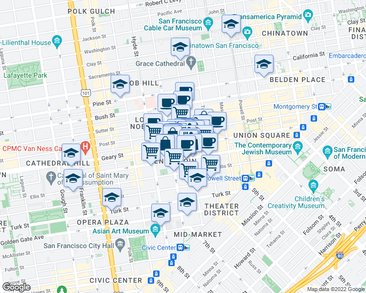 map of restaurants, bars, coffee shops, grocery stores, and more near 639 Geary Street in San Francisco