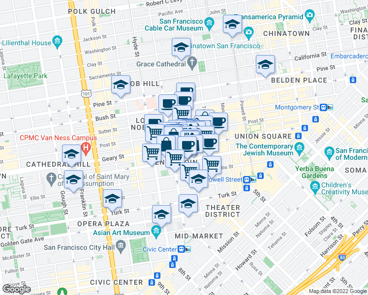 map of restaurants, bars, coffee shops, grocery stores, and more near 555 Jones Street in San Francisco