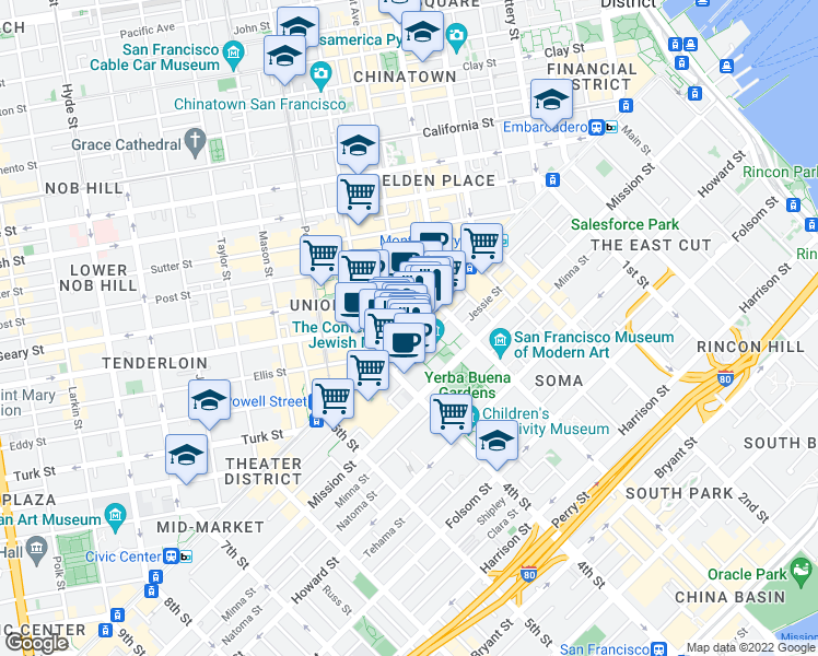 map of restaurants, bars, coffee shops, grocery stores, and more near 735 Market Street in San Francisco
