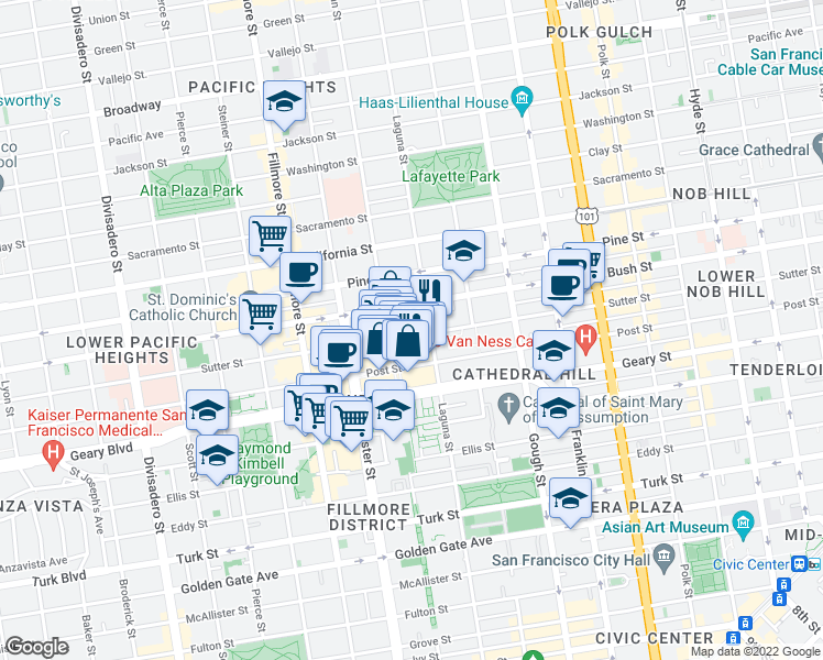 map of restaurants, bars, coffee shops, grocery stores, and more near 1750 Sutter Street in San Francisco