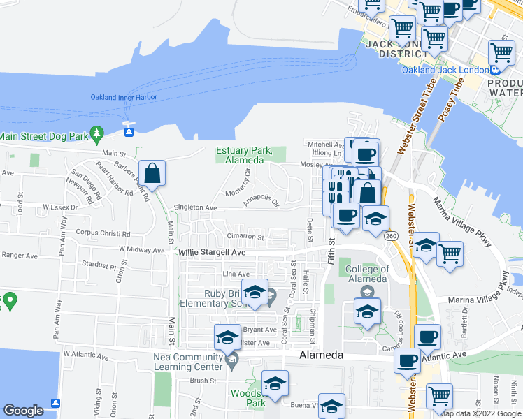 map of restaurants, bars, coffee shops, grocery stores, and more near 250 Singleton Avenue in Alameda