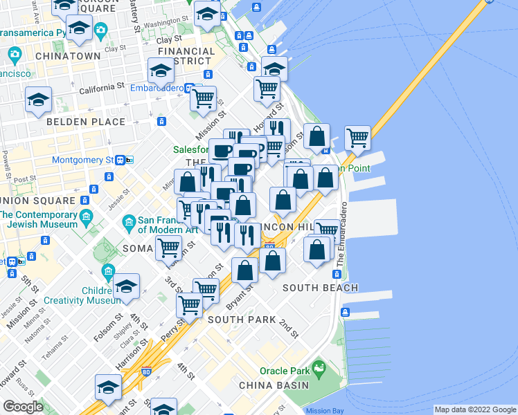 map of restaurants, bars, coffee shops, grocery stores, and more near 350 Fremont Street in San Francisco