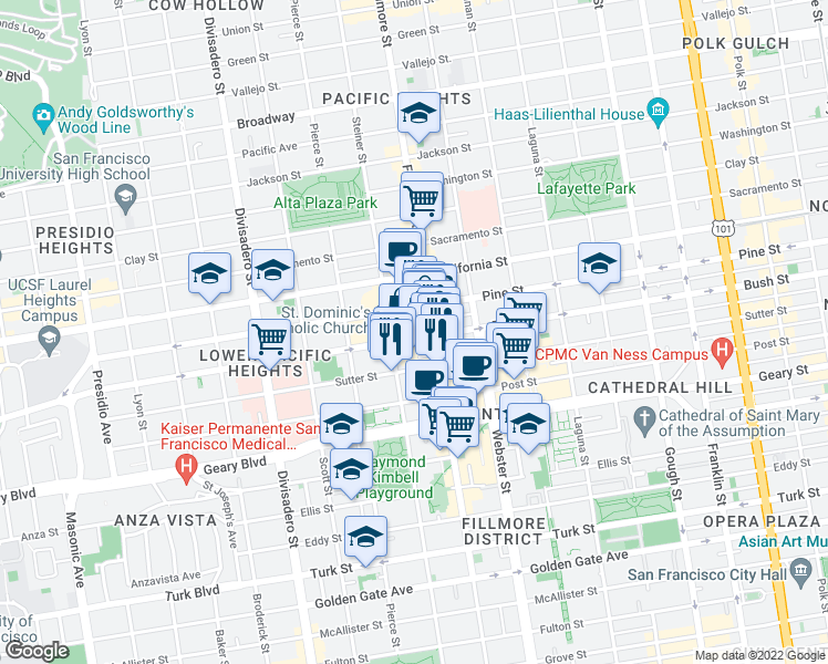 map of restaurants, bars, coffee shops, grocery stores, and more near 2250 Bush Street in San Francisco