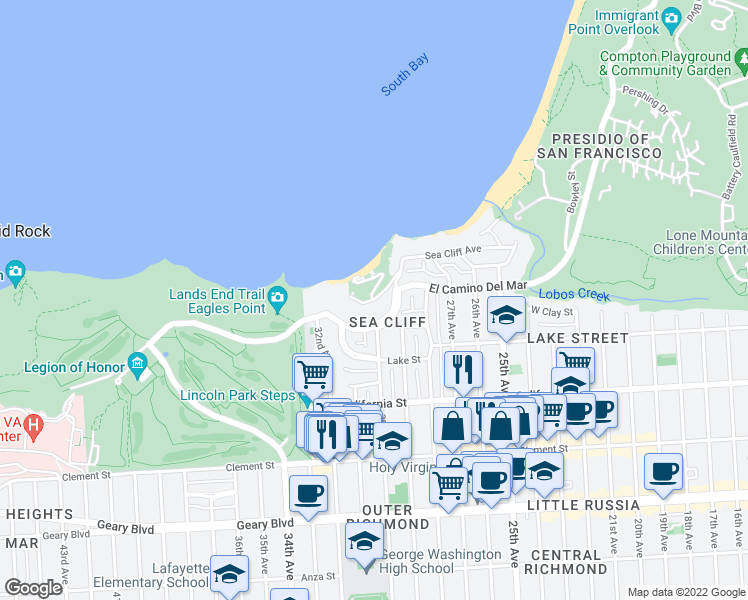 map of restaurants, bars, coffee shops, grocery stores, and more near 490 Sea Cliff Ave in San Francisco