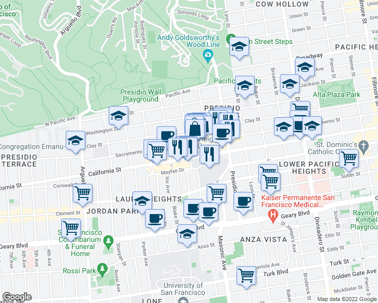 map of restaurants, bars, coffee shops, grocery stores, and more near 434 Laurel Street in San Francisco