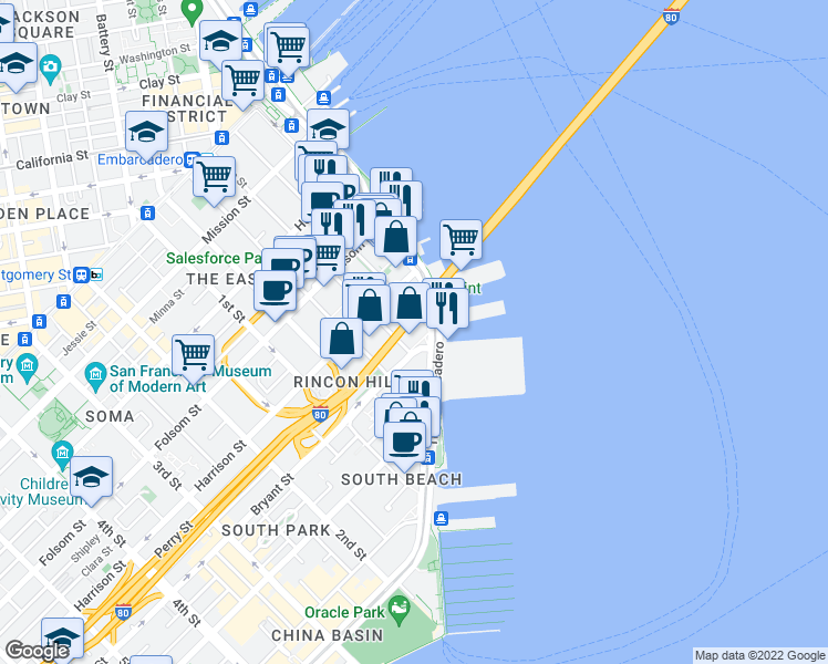 map of restaurants, bars, coffee shops, grocery stores, and more near 28 San Francisco Bay Trail in San Francisco