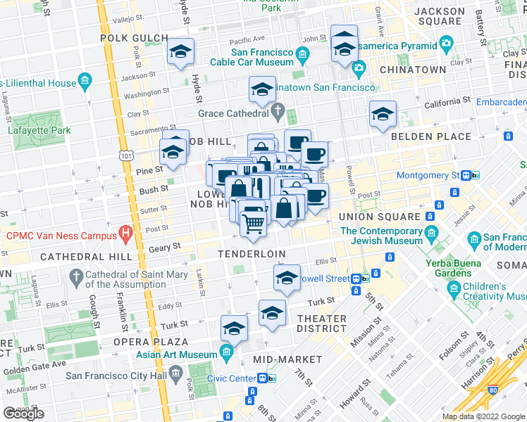map of restaurants, bars, coffee shops, grocery stores, and more near 729 Jones Street in San Francisco