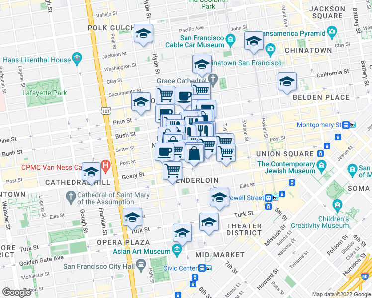 map of restaurants, bars, coffee shops, grocery stores, and more near 736 Leavenworth Street in San Francisco