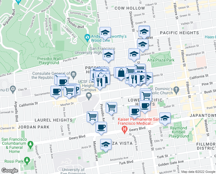 map of restaurants, bars, coffee shops, grocery stores, and more near Lyon Street in San Francisco