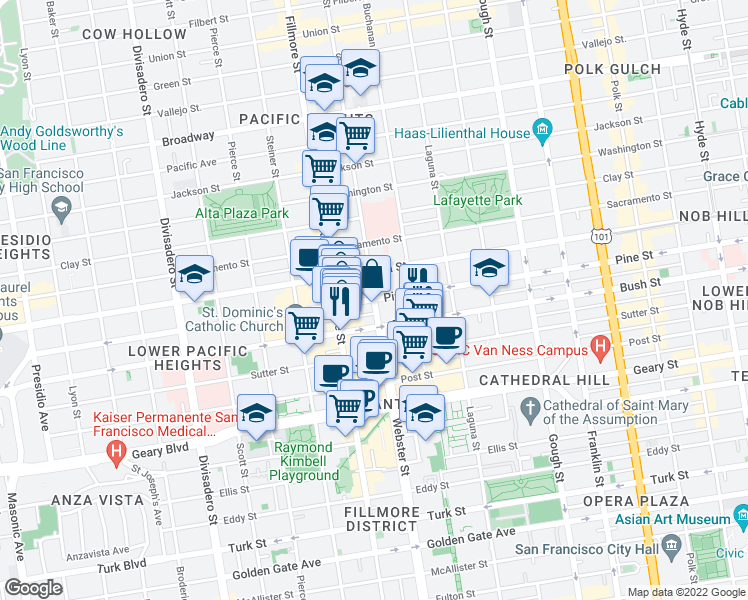 map of restaurants, bars, coffee shops, grocery stores, and more near Webster St & Pine St in San Francisco