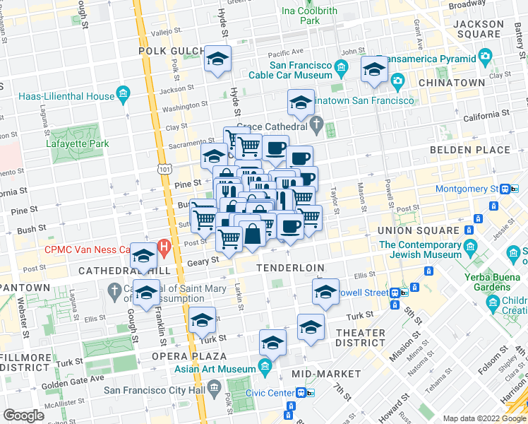 map of restaurants, bars, coffee shops, grocery stores, and more near 989 Sutter Street in San Francisco