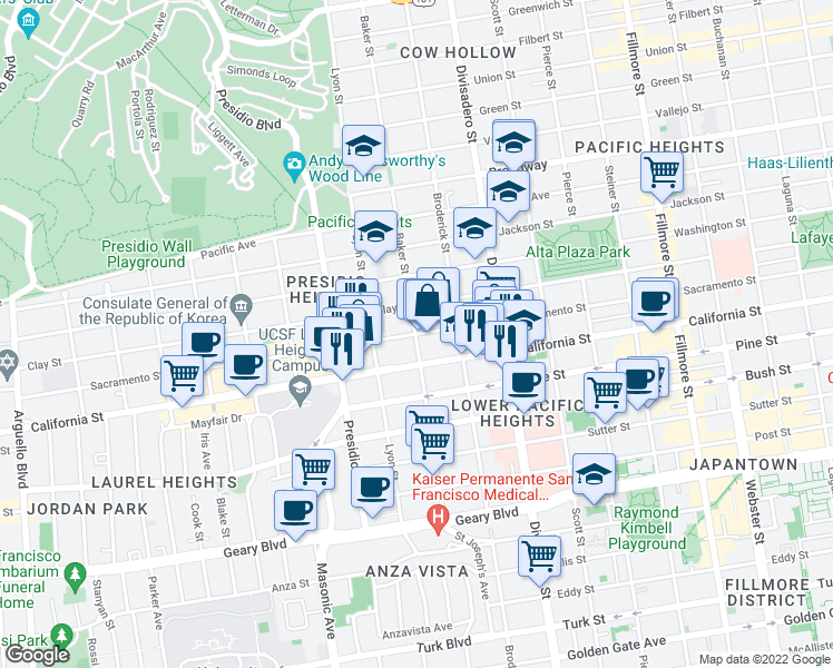 map of restaurants, bars, coffee shops, grocery stores, and more near Sacramento Street & Baker Street in San Francisco
