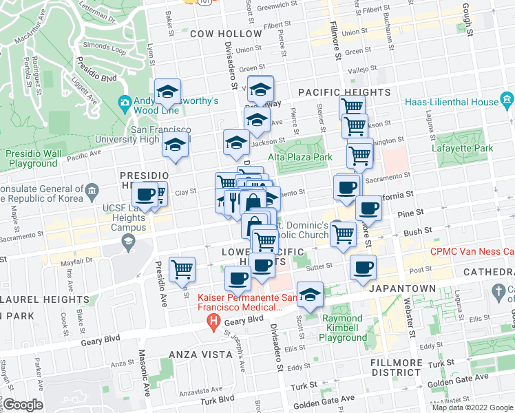 map of restaurants, bars, coffee shops, grocery stores, and more near 2038 Divisadero Street in San Francisco