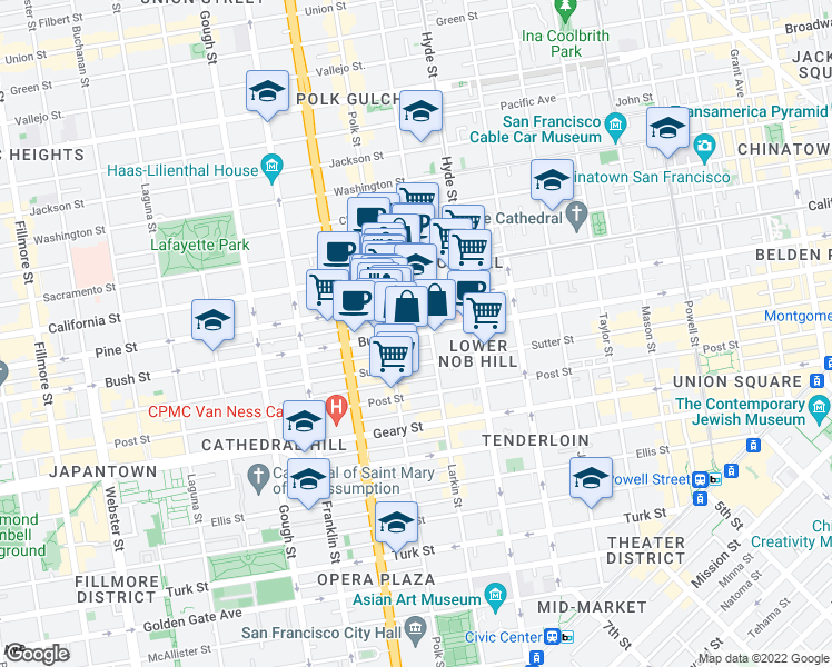 map of restaurants, bars, coffee shops, grocery stores, and more near 1421 Pine Street in San Francisco