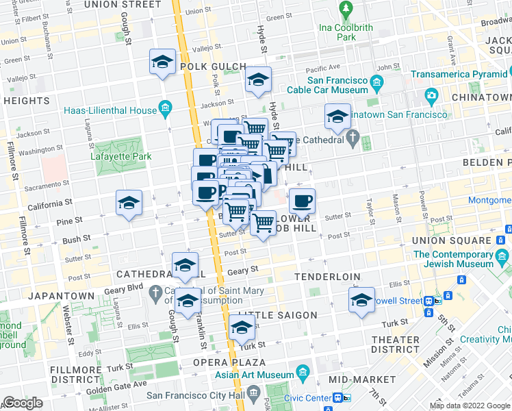 map of restaurants, bars, coffee shops, grocery stores, and more near 1330 Bush Street in San Francisco