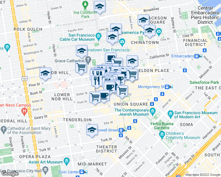 map of restaurants, bars, coffee shops, grocery stores, and more near 635 Mason Street in San Francisco