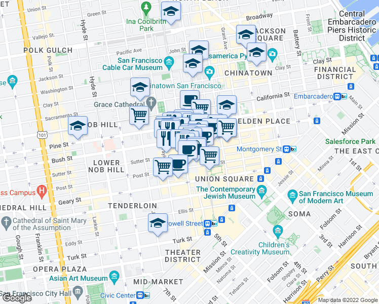 map of restaurants, bars, coffee shops, grocery stores, and more near 701 Mason Street in San Francisco