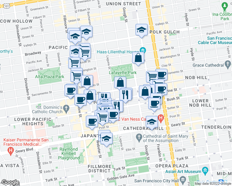 map of restaurants, bars, coffee shops, grocery stores, and more near 2095 California Street in San Francisco