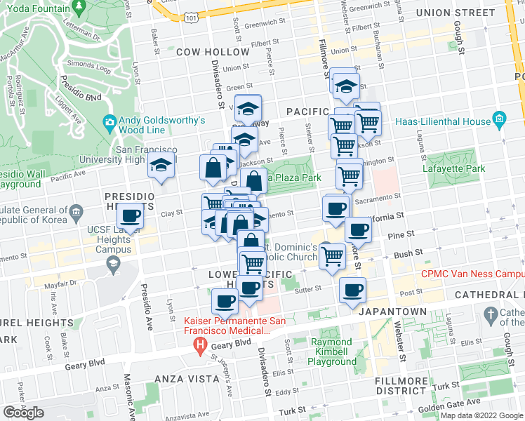 map of restaurants, bars, coffee shops, grocery stores, and more near 2119 Scott Street in San Francisco