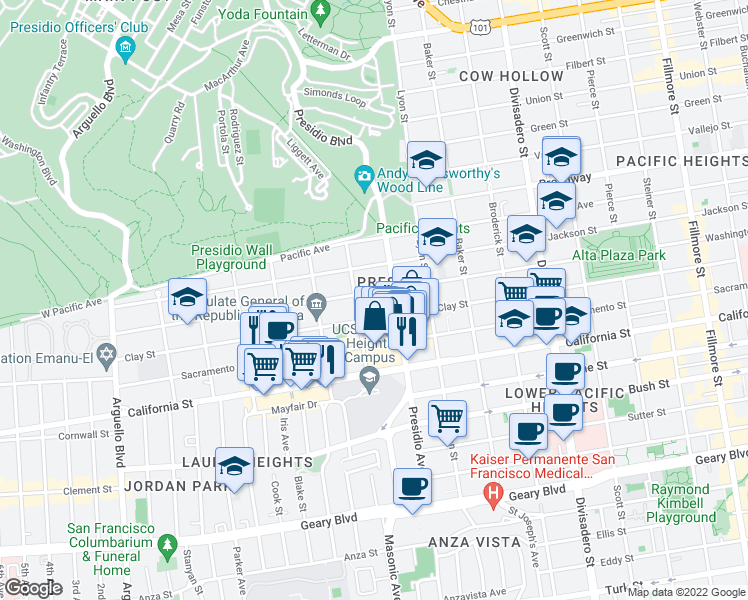 map of restaurants, bars, coffee shops, grocery stores, and more near 3363 Washington St in San Francisco