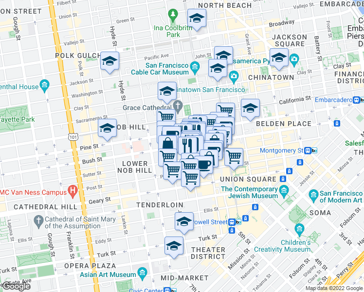 map of restaurants, bars, coffee shops, grocery stores, and more near Bush Street in San Francisco