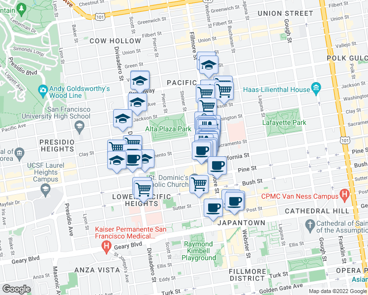 map of restaurants, bars, coffee shops, grocery stores, and more near 2608 Sacramento Street in San Francisco