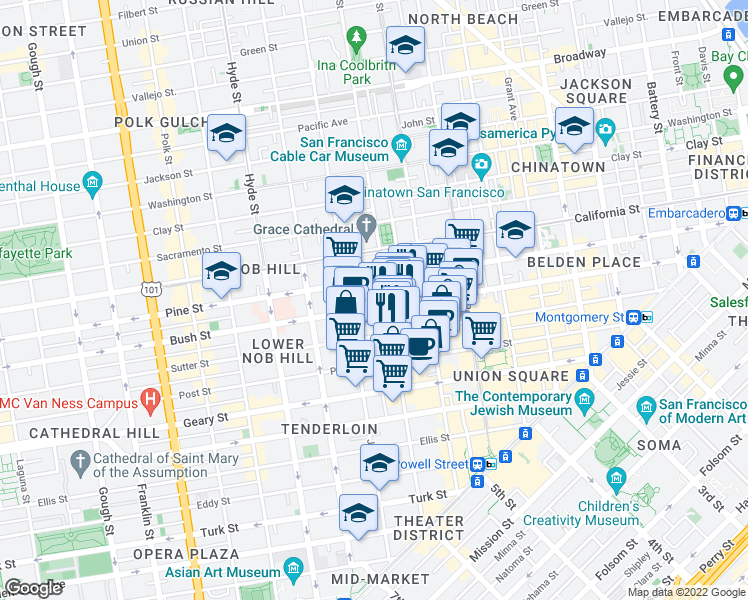 map of restaurants, bars, coffee shops, grocery stores, and more near 900 Bush Street in San Francisco