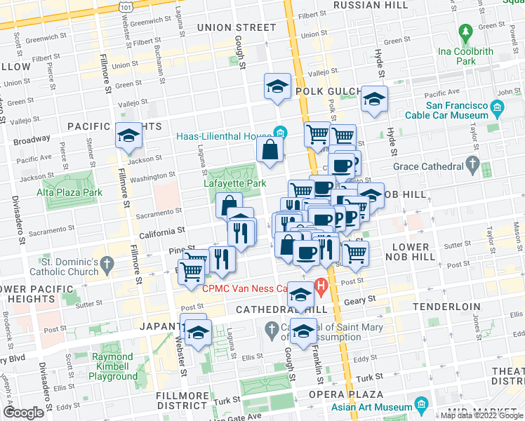map of restaurants, bars, coffee shops, grocery stores, and more near 1801 Gough Street in San Francisco