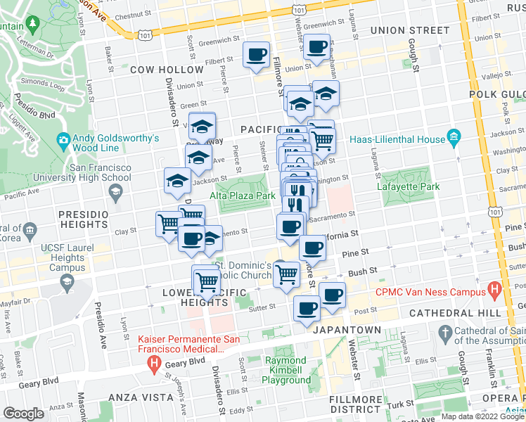 map of restaurants, bars, coffee shops, grocery stores, and more near 2633 Clay Street in San Francisco