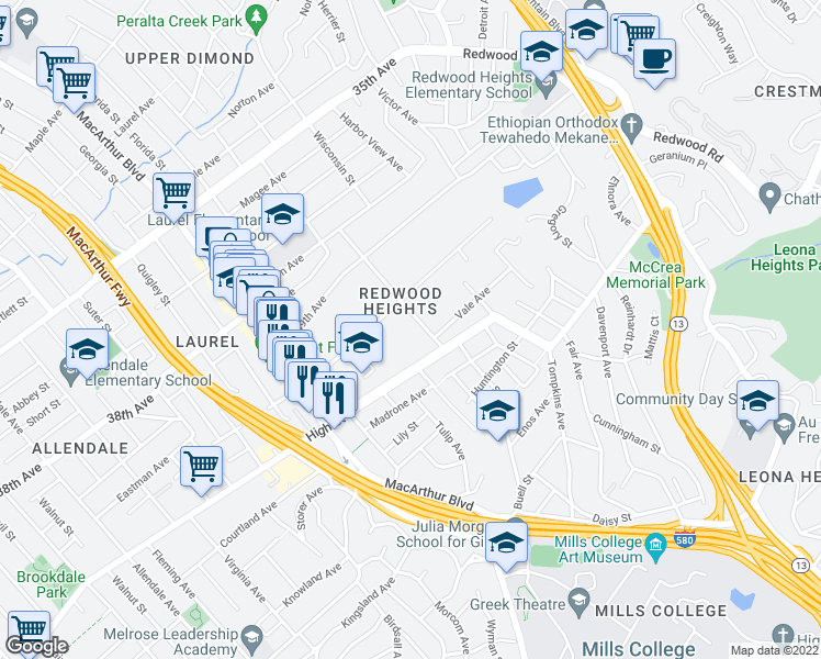 map of restaurants, bars, coffee shops, grocery stores, and more near 4139 Bayo Street in Oakland