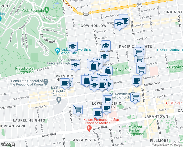 map of restaurants, bars, coffee shops, grocery stores, and more near Broderick Street & Washington Street in San Francisco