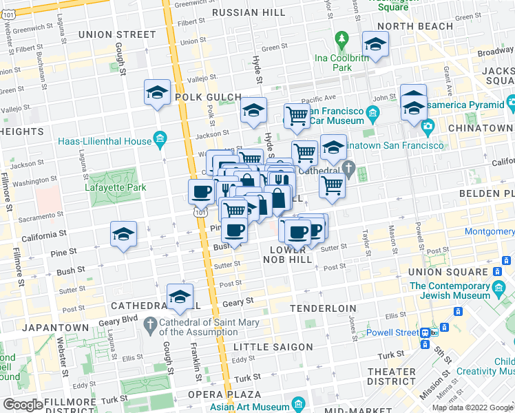 map of restaurants, bars, coffee shops, grocery stores, and more near 1434 California Street in San Francisco