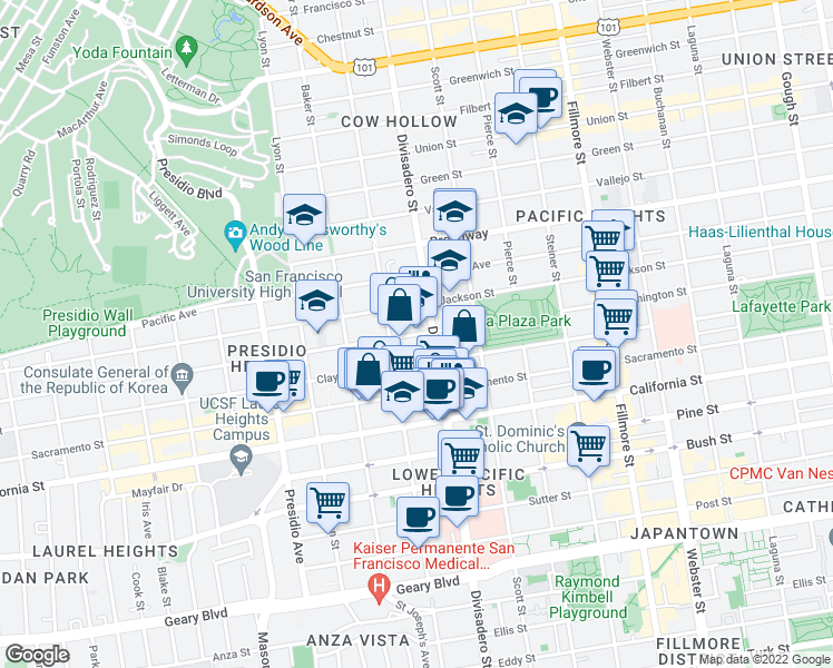map of restaurants, bars, coffee shops, grocery stores, and more near 2855 Jackson Street in San Francisco