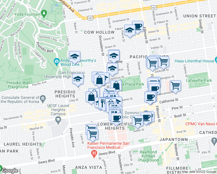 map of restaurants, bars, coffee shops, grocery stores, and more near 2899 Washington Street in San Francisco