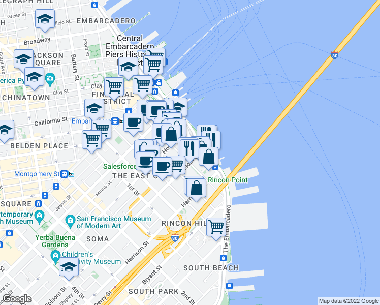 map of restaurants, bars, coffee shops, grocery stores, and more near 2 Folsom Street in San Francisco
