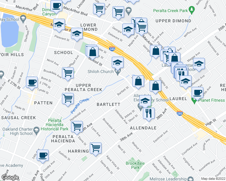 map of restaurants, bars, coffee shops, grocery stores, and more near Penniman Avenue & Humboldt Avenue in Oakland