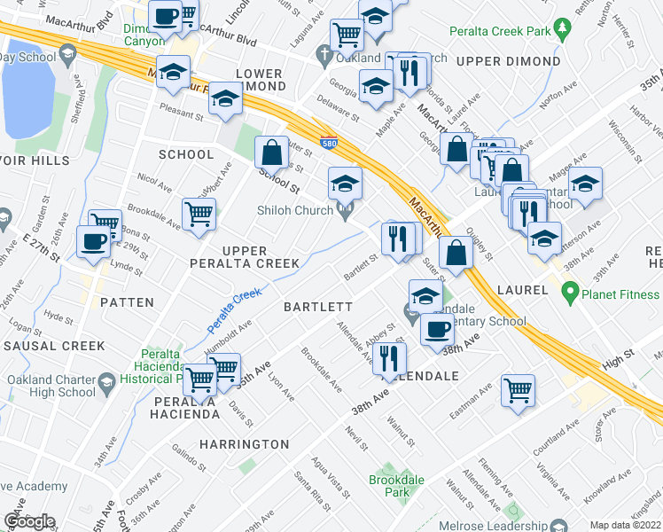 map of restaurants, bars, coffee shops, grocery stores, and more near Penniman Ave & Humboldt Ave in Oakland