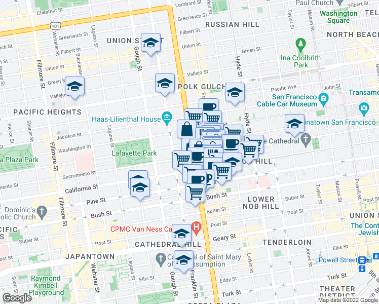 map of restaurants, bars, coffee shops, grocery stores, and more near 1725 Van Ness Avenue in San Francisco