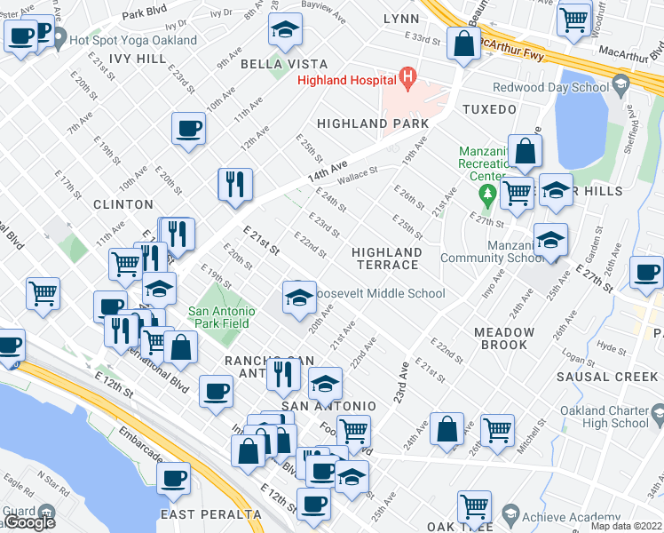 map of restaurants, bars, coffee shops, grocery stores, and more near 2136 19th Avenue in Oakland