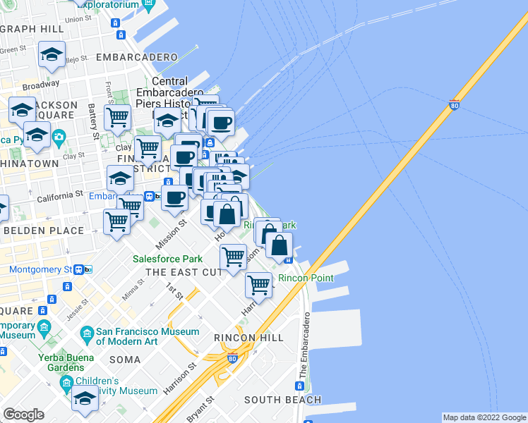 map of restaurants, bars, coffee shops, grocery stores, and more near San Francisco Bay Trail in San Francisco